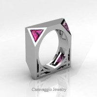 Mens Avant Garde 14K White Gold 1.0 Ct Triangle Royal Pink Sapphire Wedding Ring R349M2-14KWGPS