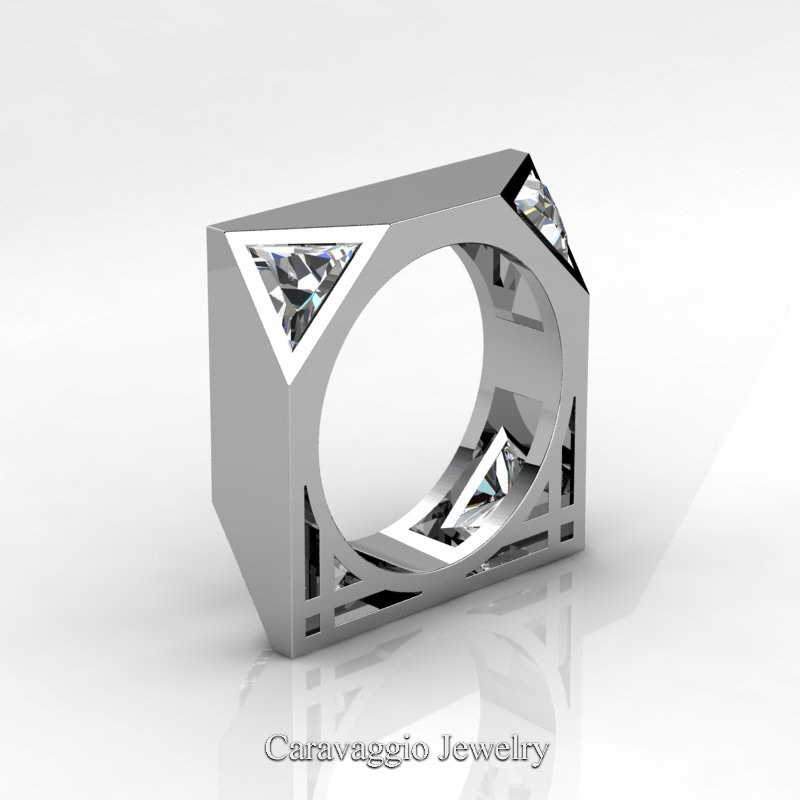 Mens Avant Garde 14K White Gold 1.0 Ct Triangle White Sapphire Wedding Ring  R349M2 14KWGWS | Caravaggio Jewelry