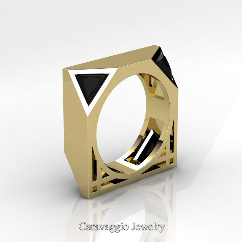 mens avant garde 14k yellow gold 1 0 ct triangle black diamond