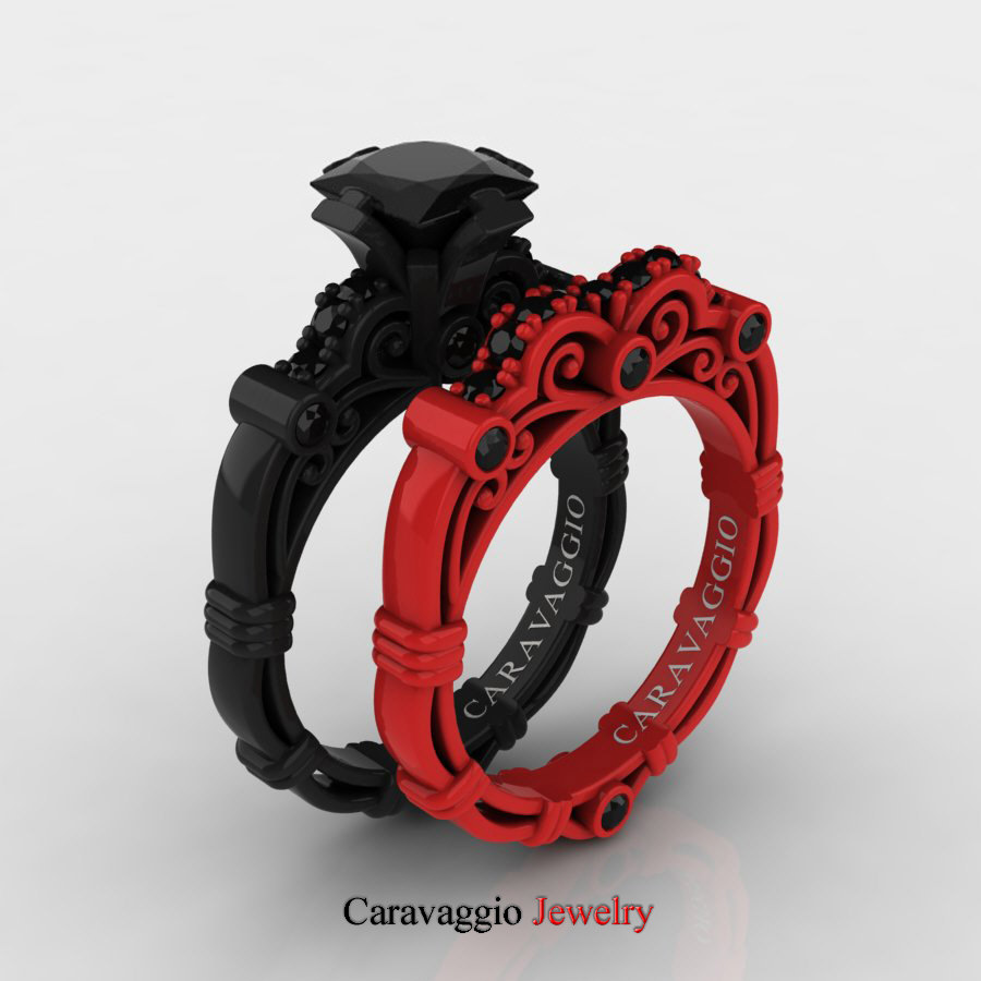 caravaggio london 14k black and red gold 1 - Black Wedding Ring Set