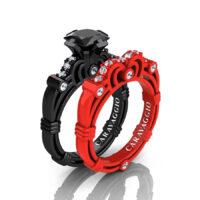 London Exclusive Caravaggio 14K Black and Red Gold 1.25 Ct Princess Black and White Diamond Engagement Ring Wedding Band Set R623PS-14KBREGDBD