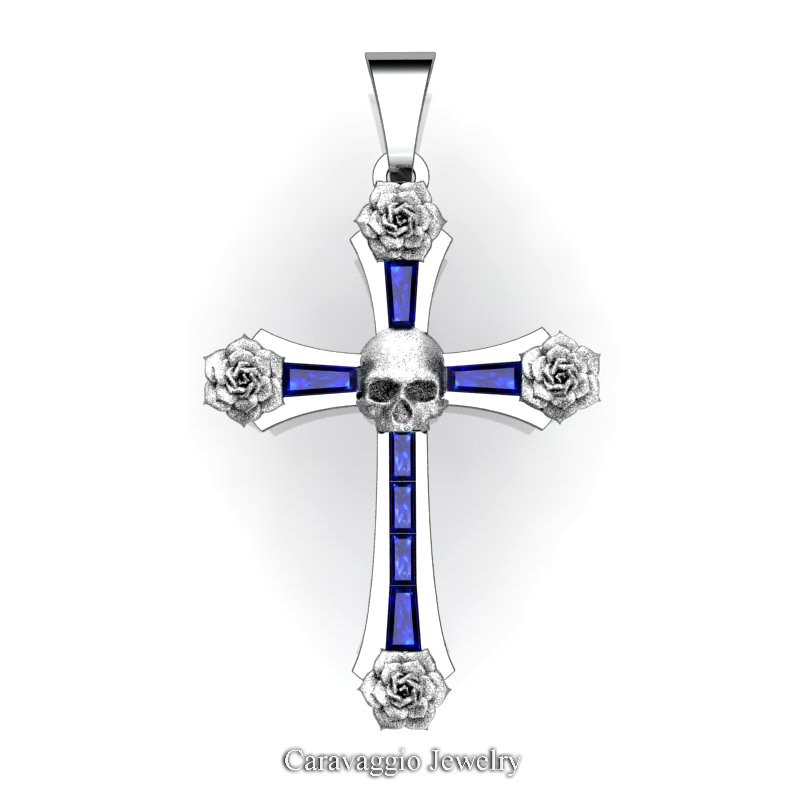 Caravaggio bridal 14k white gold baguette blue sapphire rose skull caravaggio bridal 14k white gold baguette blue sapphire rose skull and cross pendant wedding jewelry c487s 14kwgbs caravaggio jewelry aloadofball Choice Image