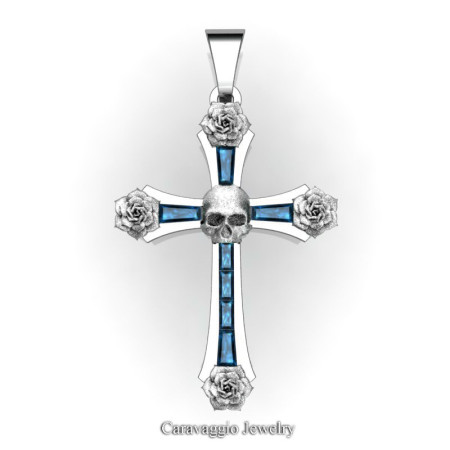 Caravaggio-Bridal-14K-White-Gold-Baguette-London-Blue-Sapphire-Roses-Skull-on-Cross-Pendant-Wedding-Jewelry-C487S-14KWGLBS-T