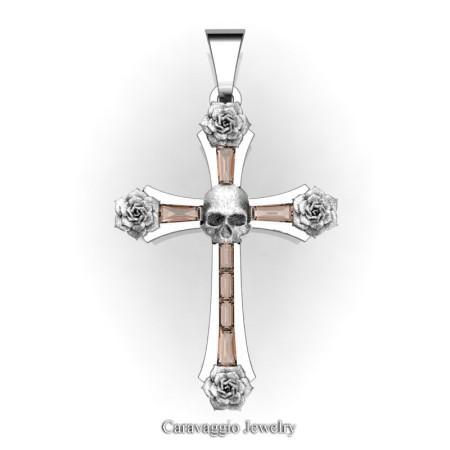 Caravaggio-Bridal-14K-White-Gold-Baguette-Morganite-Roses-Skull-on-Cross-Pendant-Wedding-Jewelry-C487S-14KWGMO-T