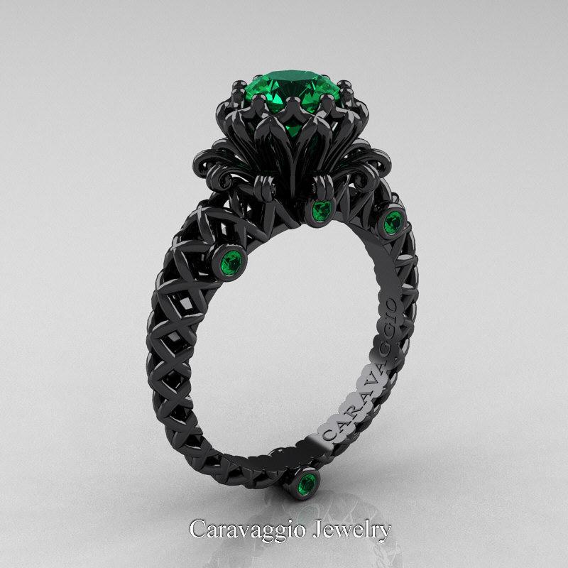 Caravaggio Lace 14K Black Gold 1 0 Ct Emerald Engagement Ring Wedding Band Se