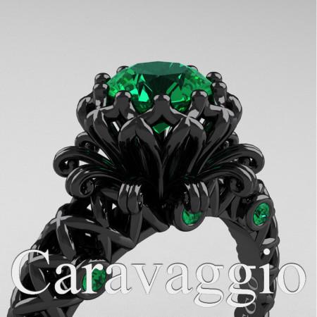 Caravaggio-Lace-14K-Black-Gold-1-0-Carat-Emerald-Lace-Engagement-Ring-R634-14KBGEM-PXL