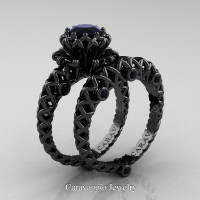 Caravaggio Lace 14K Black Gold 1.0 Ct Black Diamond Engagement Ring Wedding Band Set R634S-14KBGBD