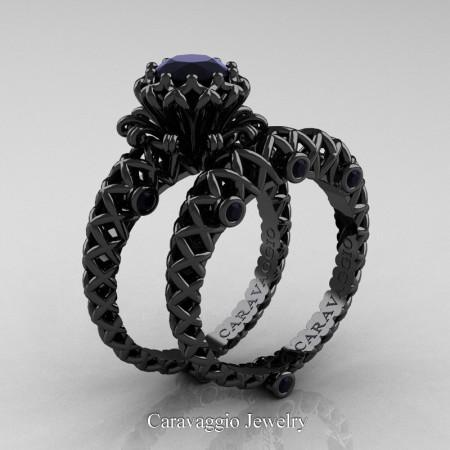 Caravaggio-Lace-14K-Black-Gold-1-Carat-Black-Diamond-Engagement-Ring-Wedding-Band-Bridal-Set-R634S-14KBGBD-P