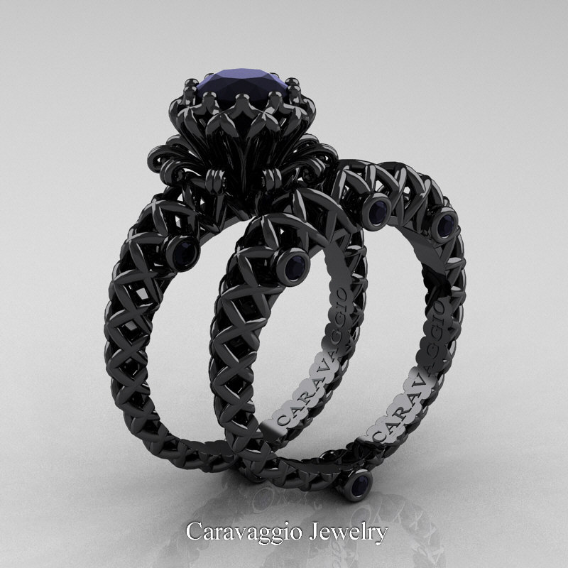 Caravaggio Lace 14k Black Gold 1 0 Ct Black Diamond Engagement