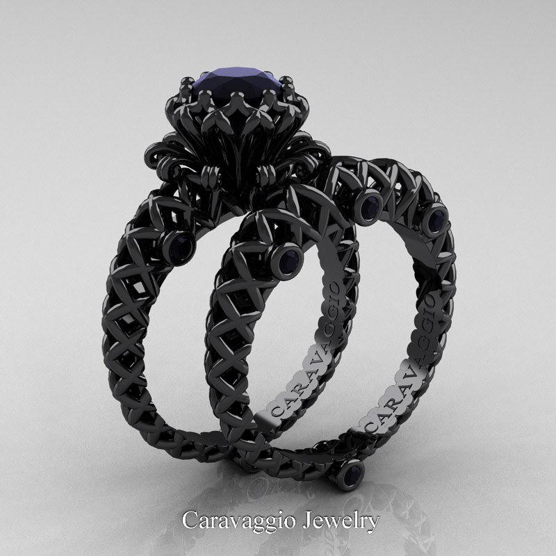 Caravaggio Lace 14k Black Gold 1 0 Ct Black Diamond