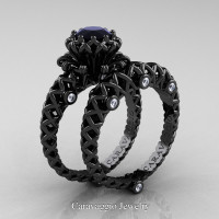 Caravaggio Lace 14K Black Gold 1.0 Ct Black and White Diamond Engagement Ring Wedding Band Set R634S-14KBGDBD