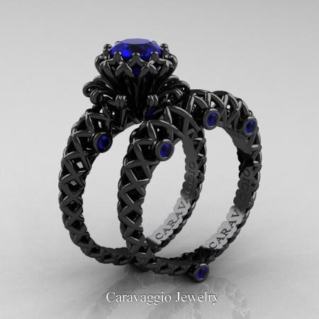 Caravaggio-Lace-14K-Black-Gold-1-Carat-Blue-Sapphire-Engagement-Ring-Wedding-Band-Bridal-Set-R634S-14KBGBS-P