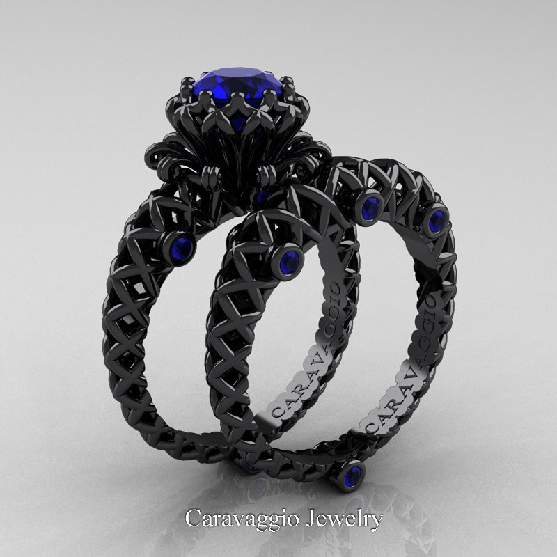 Caravaggio lace 14k black gold 10 ct blue sapphire for Sapphire engagement ring and wedding band set