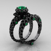 Caravaggio Lace 14K Black Gold 1.0 Ct Emerald Engagement Ring Wedding Band Set R634S-14KBGEM