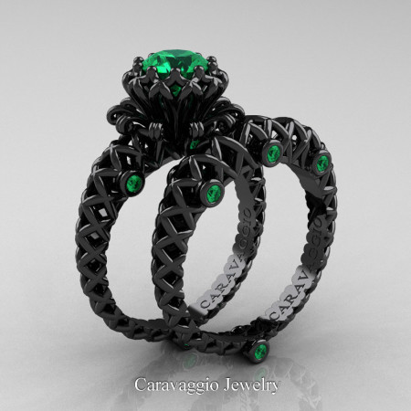 Caravaggio-Lace-14K-Black-Gold-1-Carat-Emerald-Engagement-Ring-Wedding-Band-Bridal-Set-R634S-14KBGEM-P