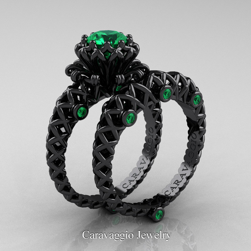 black gold wedding ring caravaggio lace 14k black gold 1 0 ct emerald engagement 1851