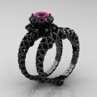 Caravaggio Lace 14K Black Gold 1.0 Ct Pink Sapphire Black Diamond Engagement Ring Wedding Band Set R634S-14KBGBDPS