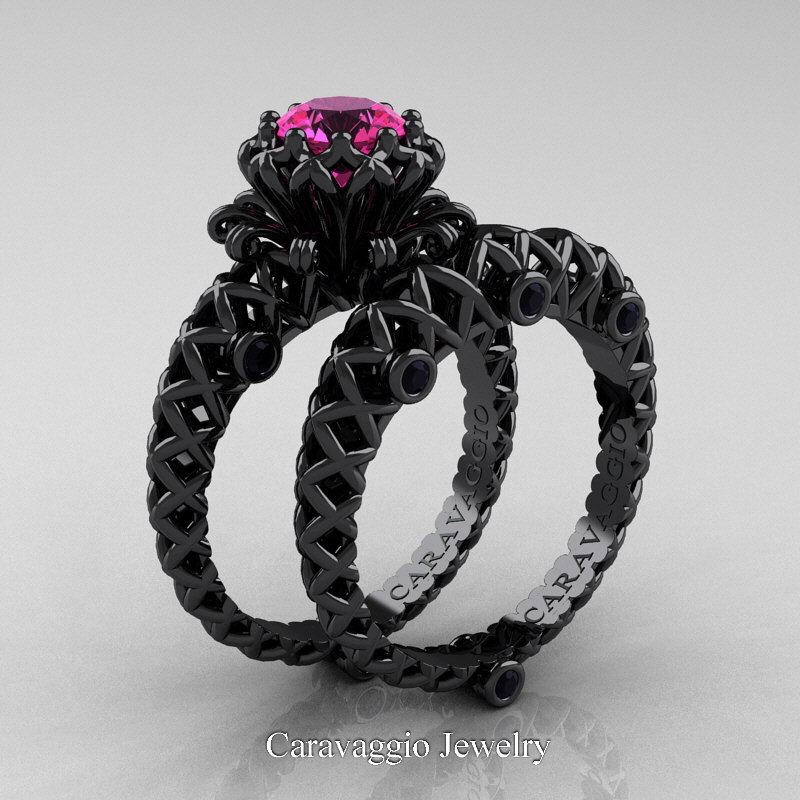 caravaggio lace 14k black gold 10 ct pink sapphire black diamond engagement ring wedding band set r634s 14kbgbdps caravaggio jewelry - Sapphire And Diamond Wedding Rings