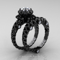 Caravaggio Lace 14K Black Gold 1.0 Ct White Sapphire Diamond Engagement Ring Wedding Band Set R634S-14KBGDWS