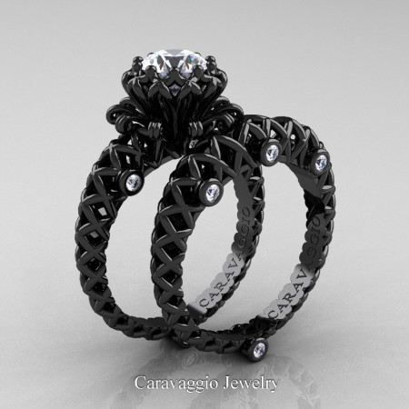 Caravaggio-Lace-14K-Black-Gold-1-Carat-White-Sapphire-Diamond-Engagement-Ring-Wedding-Band-Bridal-Set-R634S-14KBGDWS-P
