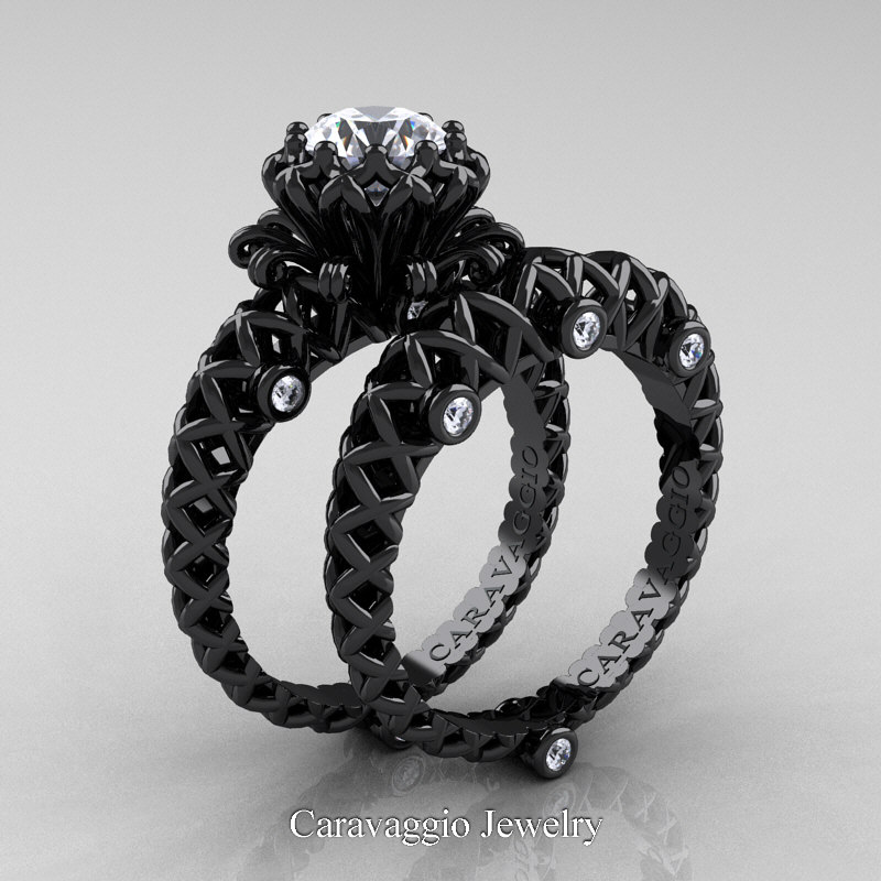 Caravaggio Lace 14K Black Gold 10 Ct White Sapphire Diamond Engagement Ring Wedding Band Set