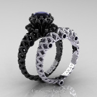 Caravaggio Lace 14K Black and White Gold 1.0 Ct Black Diamond Engagement Ring Wedding Band Set R634S-14KBWGBD