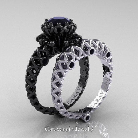 Caravaggio-Lace-14K-Black-White-Gold-1-Carat-Black-Diamond-Engagement-Ring-Wedding-Band-Bridal-Set-R634S-14KBWGBD-P