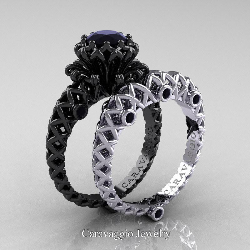 1 25ct Black Diamond Engagement Rings Set 14k White Gold: Caravaggio Lace 14K Black And White Gold 1.0 Ct Black