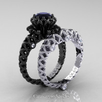 Caravaggio Lace 14K Black and White Gold 1.0 Ct Black and White Diamond Engagement Ring Wedding Band Set R634S-14KBWGDBD