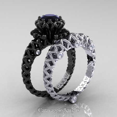 Caravaggio-Lace-14K-Black-White-Gold-1-Carat-Black-and-White-Diamond-Engagement-Ring-Wedding-Band-Bridal-Set-R634S2-14KBWGDBD-P