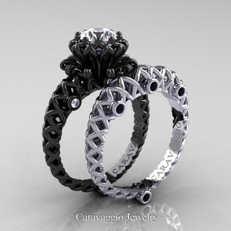 Caravaggio-Lace-14K-Black-White-Gold-1-Carat-White-Sapphire-Black-and-White-Diamond-Engagement-Ring-Wedding-Band-Bridal-Set-R634S2-14KBWGDBDWS-P