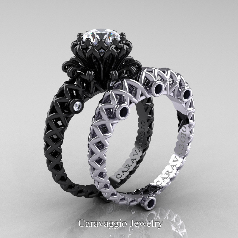 Caravaggio Lace 14K Black and White Gold 1 0 Ct White Sapphire
