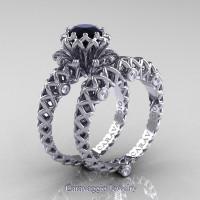 Caravaggio Lace 14K White Gold 1.0 Ct Black and White Diamond Engagement Ring Wedding Band Set R634S-14KWGDBD