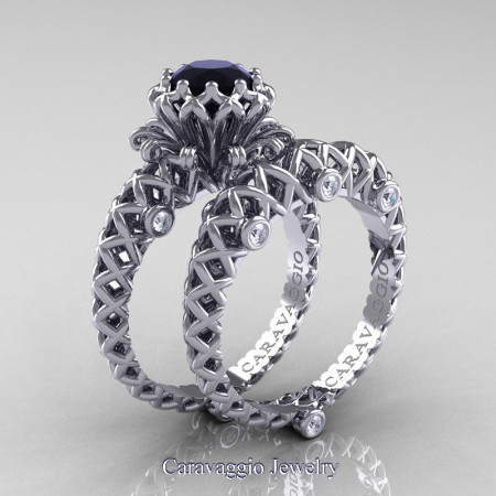 Caravaggio-Lace-14K-White-Gold-1-0-Carat-Black-and-White-Diamond-Engagement-Ring-Wedding-Band-Bridal-Set-R634S-14KWGDBD-P