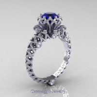 Caravaggio Lace 14K White Gold 1.0 Ct Blue Sapphire Diamond Engagement Ring R634-14KWGDBS