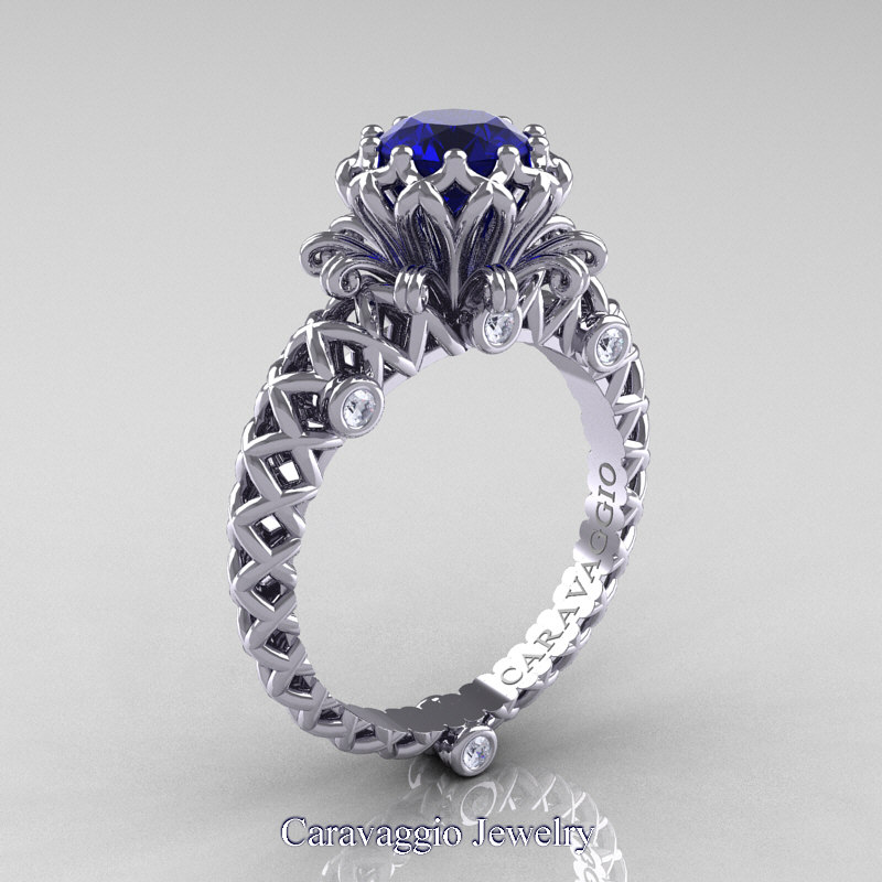 Caravaggio Lace 14K White Gold 10 Ct Blue Sapphire Diamond