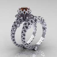 Caravaggio Lace 14K White Gold 1.0 Ct Brown and White Diamond Engagement Ring Wedding Band Set R634S-14KWGDBRD