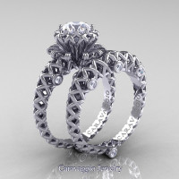 Caravaggio Lace 14K White Gold 1.0 Ct White Sapphire Diamond Engagement Ring Wedding Band Set R634S-14KWGDWS