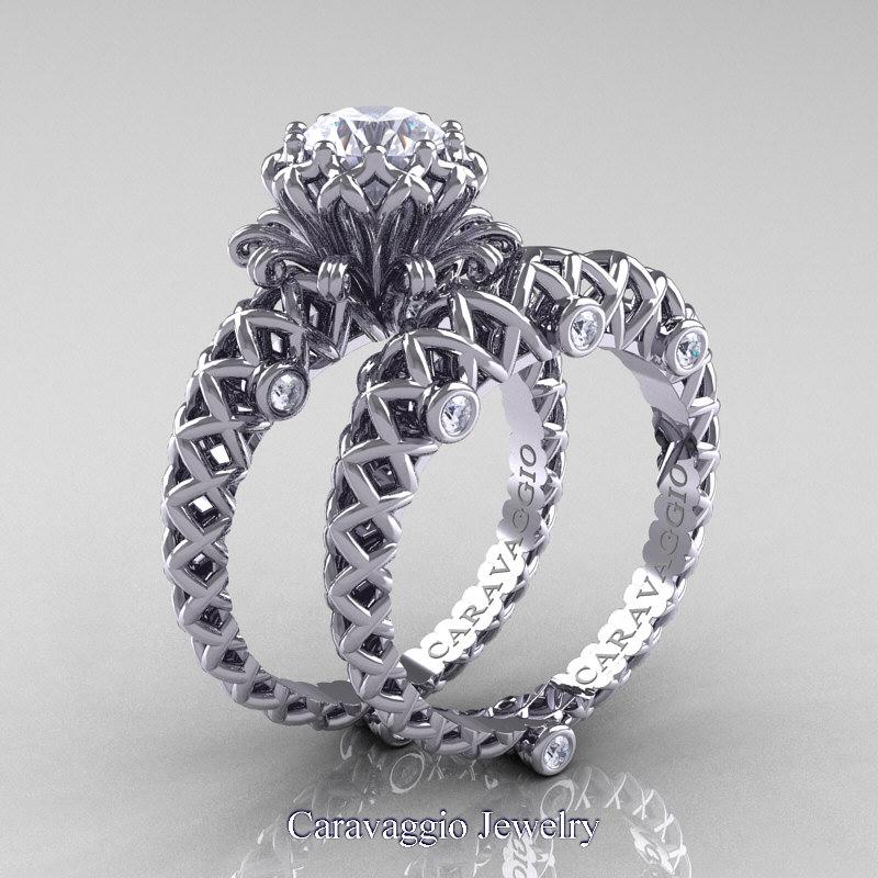caravaggio lace 14k white gold 1 0 ct white sapphire