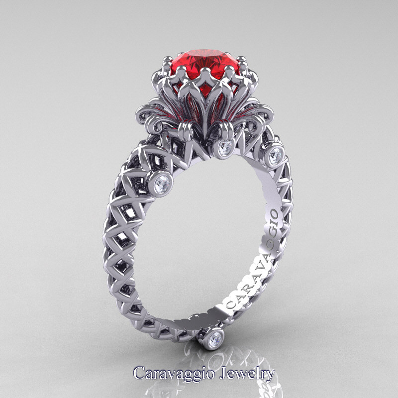 Ruby Wedding Rings.Caravaggio Lace 14k White Gold 1 0 Ct Ruby Diamond Engagement Ring R634 14kwgdr
