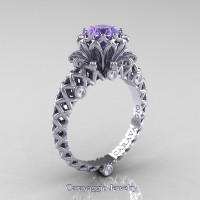 Caravaggio Lace 14K White Gold 1.0 Ct Tanzanite Diamond Engagement Ring R634-14KWGDTA