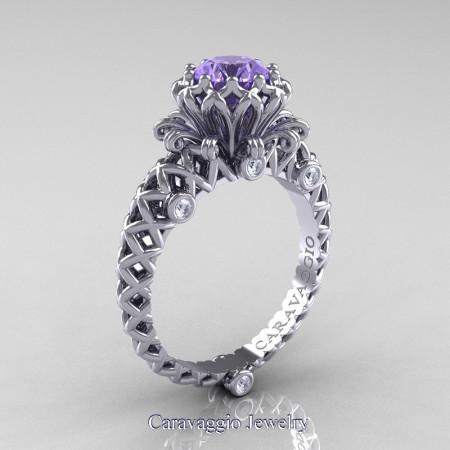 Caravaggio-Lace-14K-White-Gold-1-0-Carat-Tanzanite-Diamond-Engagement-Ring-R634-14KWGDTA-P