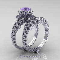 Caravaggio Lace 14K White Gold 1.0 Ct Tanzanite Diamond Engagement Ring Wedding Band Set R634S-14KWGDTA