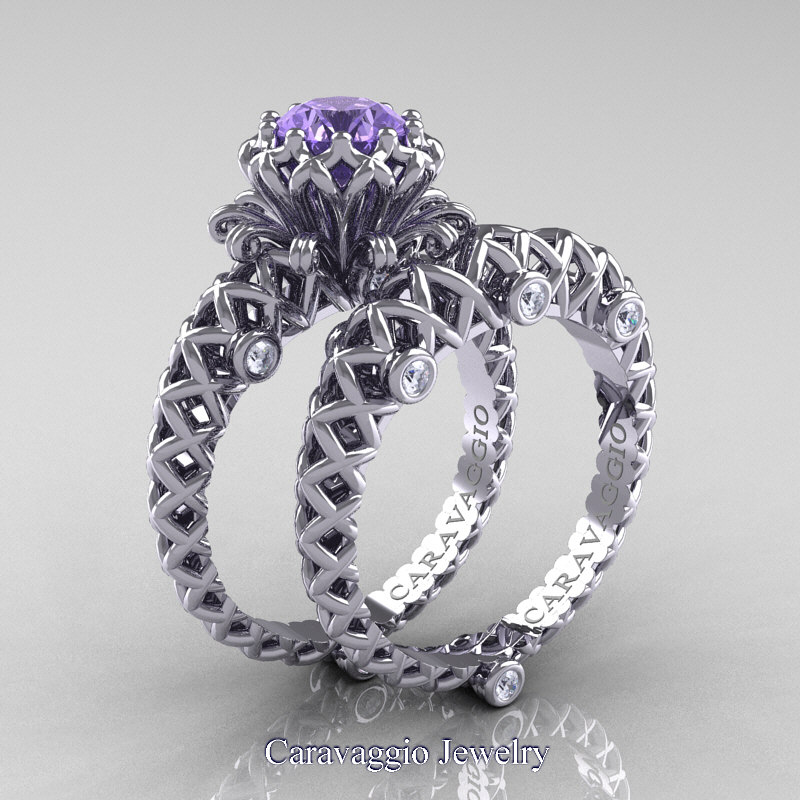 Caravaggio Lace 14k White Gold 1 0 Ct Tanzanite Diamond Engagement Ring Wedding Band Set R634s 14kwgdta Jewelry
