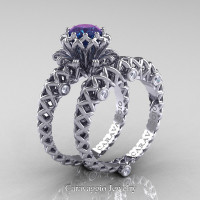 Caravaggio Lace 14K White Gold 1.0 Ct Alexandrite Diamond Engagement Ring Wedding Band Set R634S-14KWGDAL