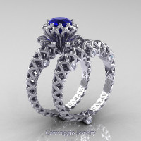 Caravaggio Lace 14K White Gold 1.0 Ct Blue Sapphire Diamond Engagement Ring Wedding Band Set R634S-14KWGDBS