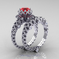 Caravaggio Lace 14K White Gold 1.0 Ct Ruby Diamond Engagement Ring Wedding Band Set R634S-14KWGDR