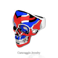 Mens Modern American 14K White Gold Red and Blue Enamel Skull Ring R635-14KWGREBL