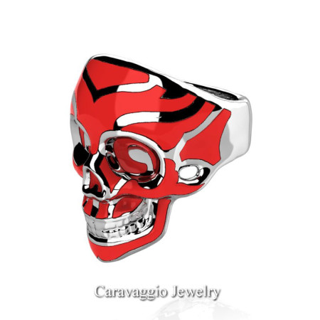 Caravaggio-Mens-14K-White-Gold-Red-Enamel-Skull-Ring-R638-14KWGRE-P