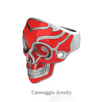 Mens Modern Italian 14K White Gold Red Enamel Skull Ring R635-14KWGSRE